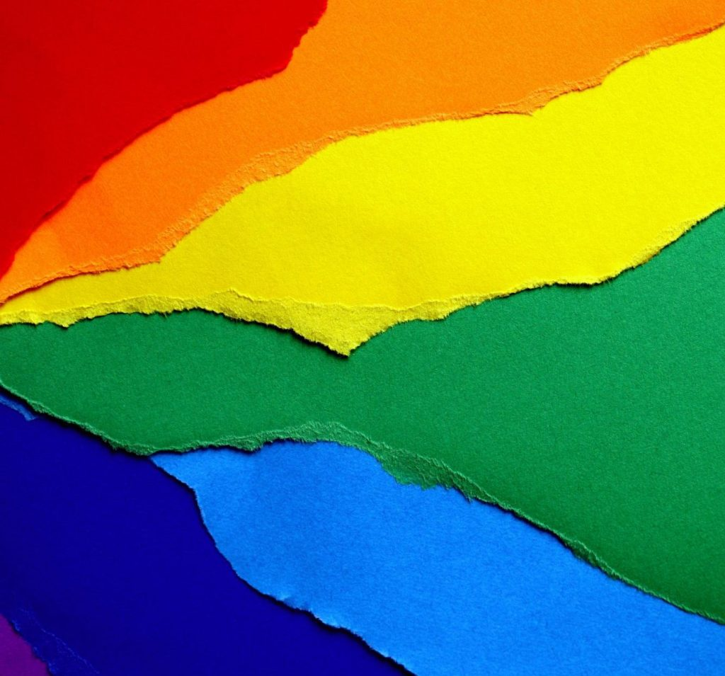 Rainbow LGBT flag made of paper.