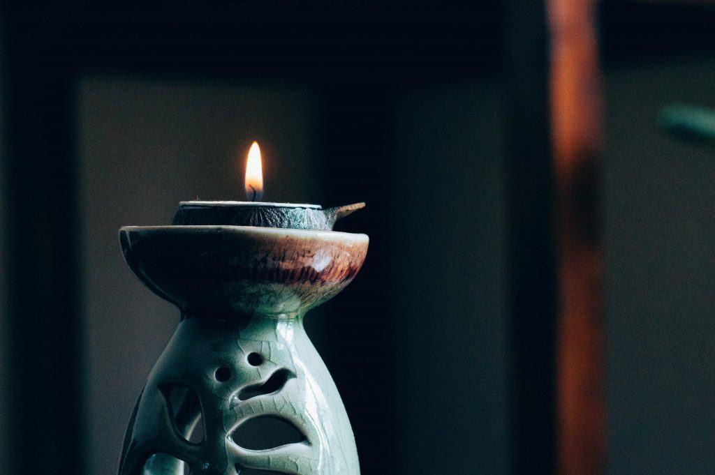 Candle burning.