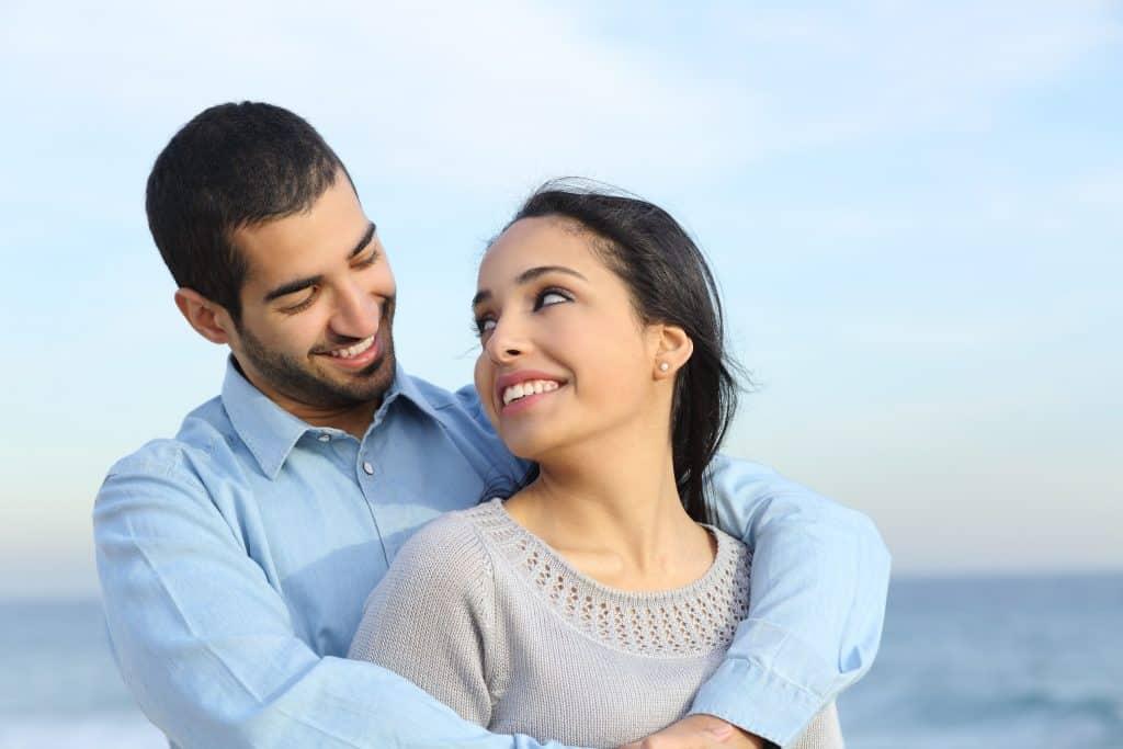 Happy Muslim couple.