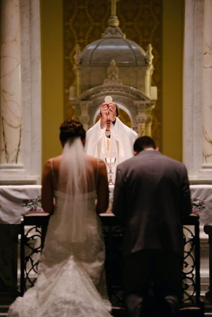 Catholic marriage in a church.